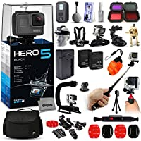 GoPro HERO5 Black Edition CHDHX-501 with Scuba and Snow Filter + WiFI Remote + Selfie Stick + Action Stabilizer + Large Case + 2 Battery + Travel Charger + Head Strap + Chest Strap + More