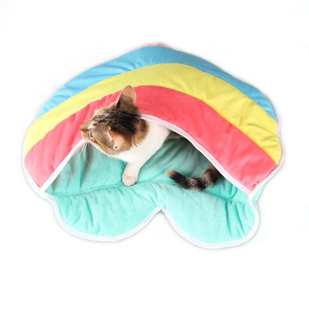 Bwogue Cat Sleeping Bag Warm Soft Puppy Cat Bed Cave Multifunctional Heart Shape Crate Mat