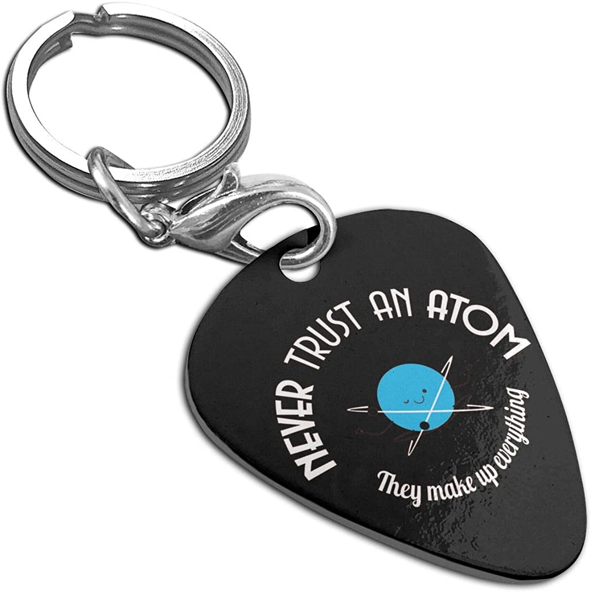 Never Trust An Atom Guitar Pick Necklace Pendant Pet Card Keychain