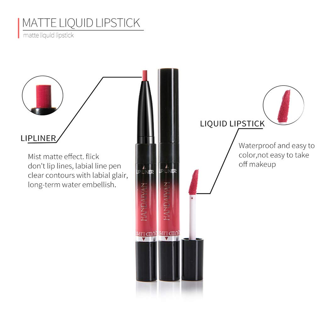 At Baby Lipliner,Double-end Lasting Lipliner Waterproof Lip Liner Stick Pencil 14 Colors Lipstick (K) by At Baby (Image #6)