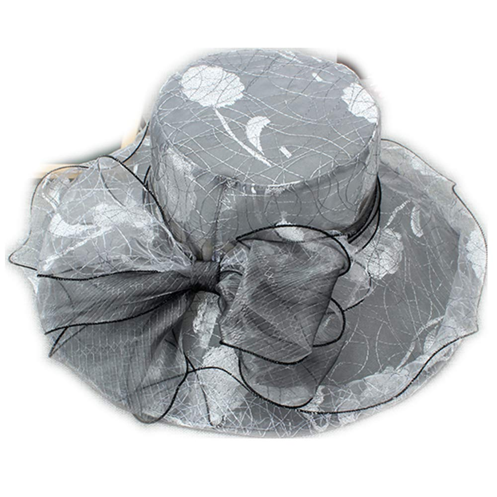 Lace Lady Dress Church Cloche Hat Bow Bucket Hats Beach Summer Hats Gray White