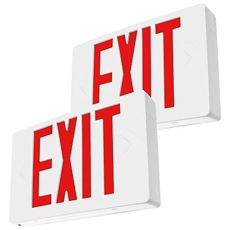 LFI Lights - 2 Pack - UL Certified - Hardwired Red LED Exit Emergency Sign  Light - Standard - Battery Backup - LEDRBBx2