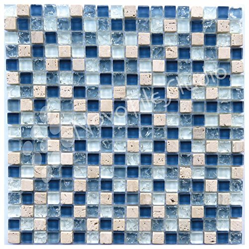 Corsica Box - Box 10 Tiles Blue Glass & Travertine Mosaic Tile 12