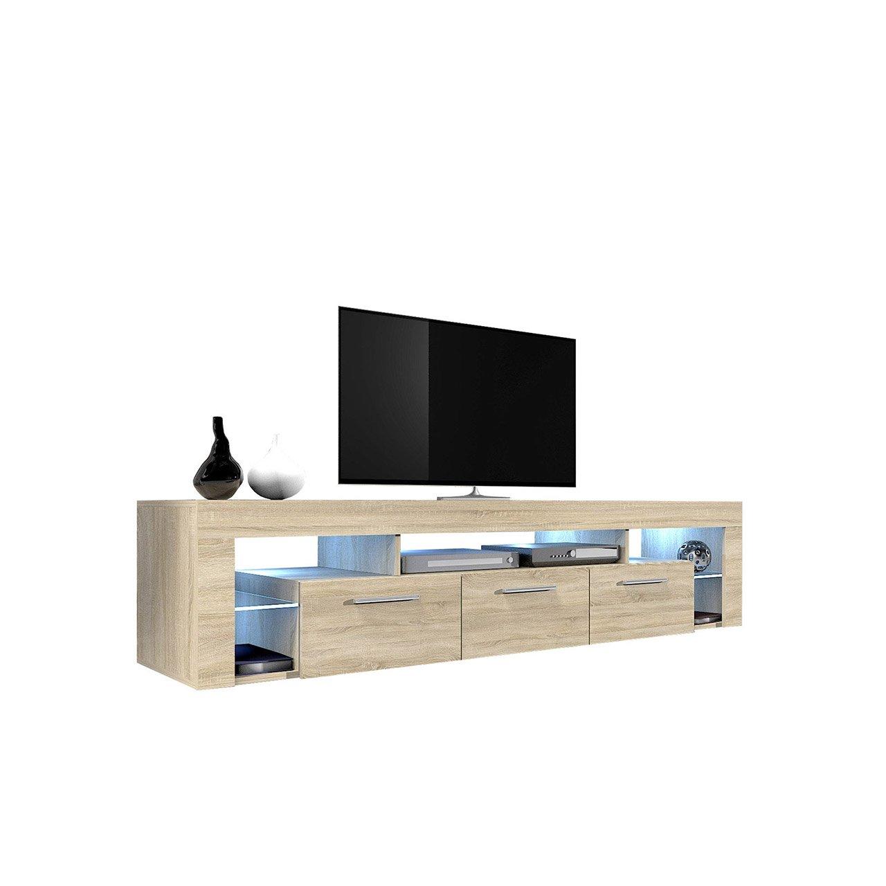 Mirjan24  TV Schrank Magnum, Unterschrank, Fernsehschrank, TV Lowboard, Fernsehtisch, TV Möbel, TV Board (Sonoma Eiche/Sonoma Eiche, mit Blauer LED Beleuchtung)