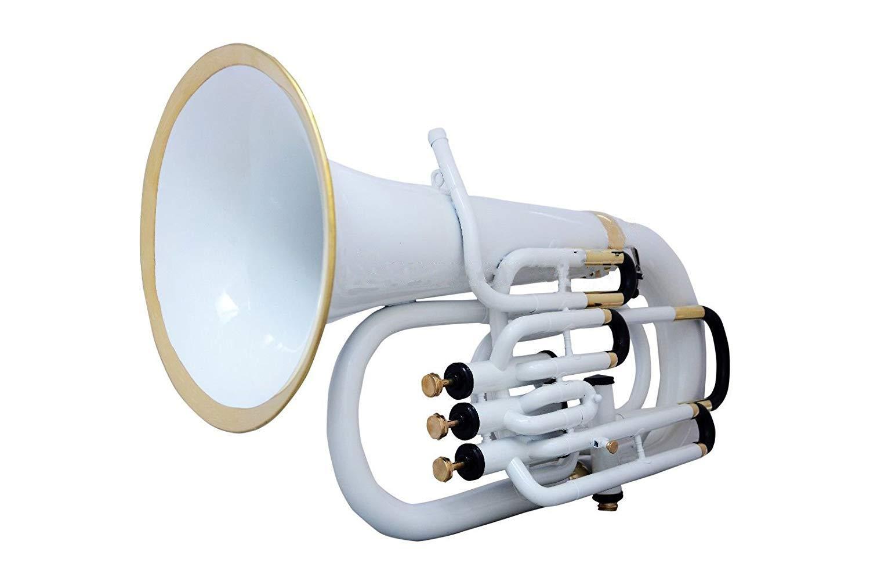 Brand New SAI MUSICAL 4 VALVE EUPHONIUM WHITE COLORED+ brass POLISH WITH CASE