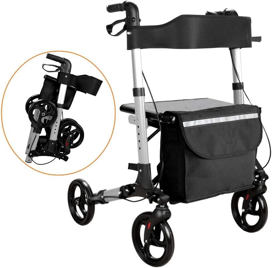 Hengda 2 en 1 Andador de 4 Ruedas para Ancianos Plegable Altura Ajustable Rollator para Mayores hecho de aluminio y con frenos