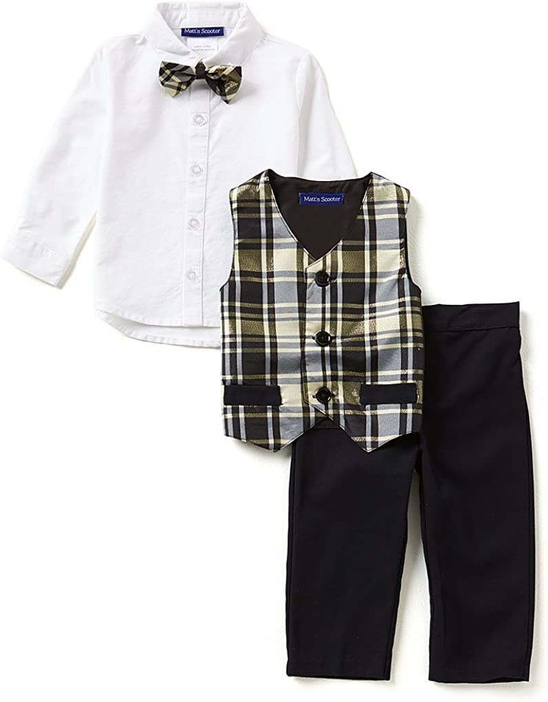 Bonnie Jean Matts Scooter Baby Boys 12M 4T Christmas Plaid Taffeta Vest Set