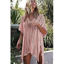 NFASHIONSO Women's Fashion Swimwear Crochet Tunic Cover Up/Beach Dres,Pink