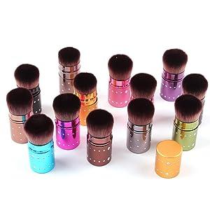 Elaco Cosmetic Makeup Retractable Blush Brushes Set Foundation Powder Eyeshadow Brush