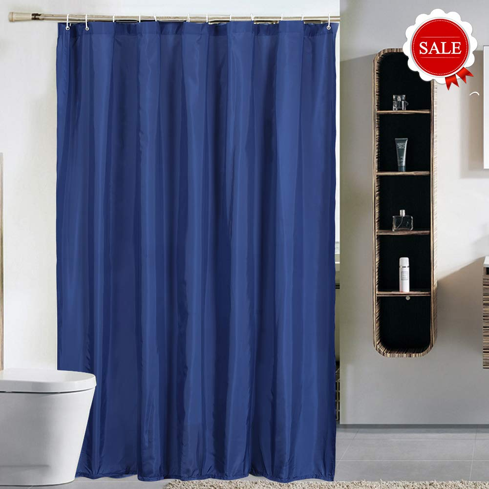 Wei Xu Shower Curtain Liner Fabric 71 by 79 inches Longer Length Hotel Quality Waterproof Spa Bathroom Curtains with Grommets (Navy Blue, 71'' X 79'') by Wei Xu