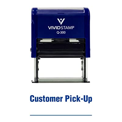 Customer Pick-up Self Inking Rubber Stamp (Blue Ink) - Large : Office Products