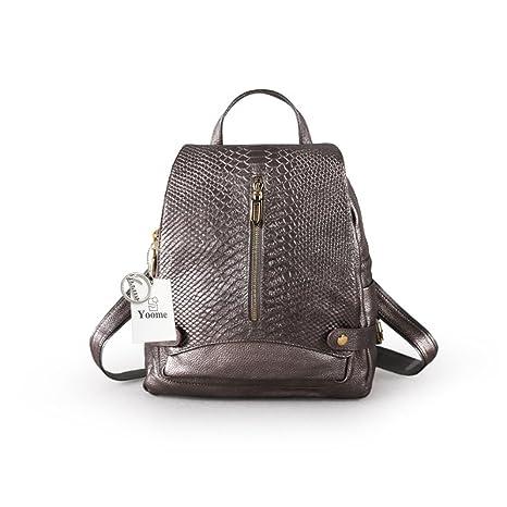 Yoome coccodrillo in pelle di vitello zaino borsa grande capacità tracolla  borsa delle donne scuola Bookbag 191ce8bbe9c