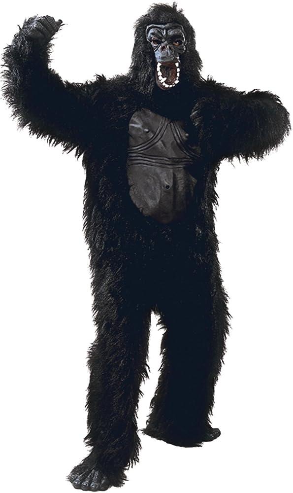 Mens Deluxe Furry Black Gorilla Monkey Suit Festival Stag Do Night ...
