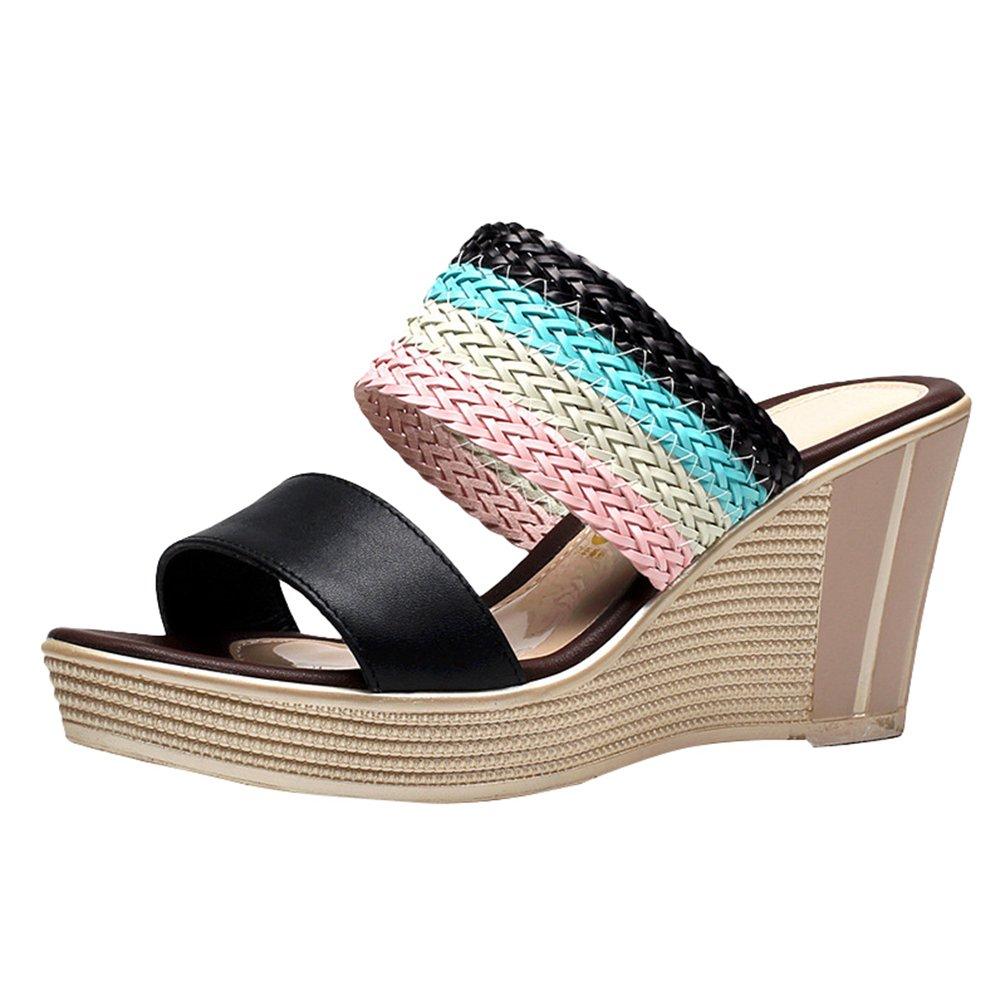Anguang Flop Donna Moda Colore a Contrasto Pantofole Flip Flop Anguang Sandali con ZeppaNero 9deaa2