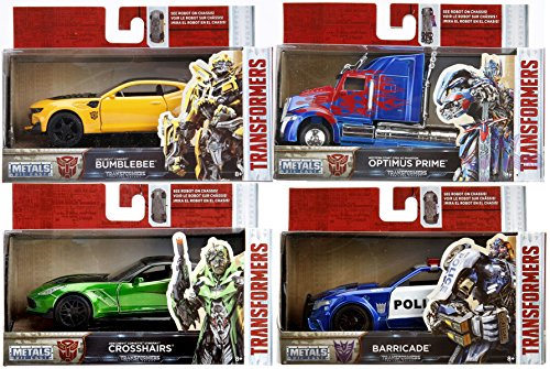 Transformers The Last Knight Cars - Metals Set 1:24 Scale Optimus Prime Truck / Bumblebee Camaro & CROSSHAIRS (2016 CHEVROLET CORVETTE STINGRAY) Green Barricade Blue Police Vehicle 4-Pack