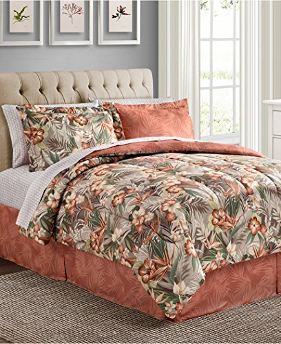 8 Piece REVERSIBLE Tropical Hawaiian Coral Hibiscus Flower Comforter & (Tropical Coral)