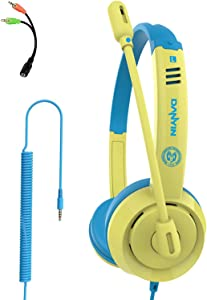 YOUPECK Kids Headphones for Children Boys Girls Teens Wired Foldable Lightweight Stereo On Ear Headset for iPad Cellphones Computer MP3/4 Kindle Airplane School (Yellow)