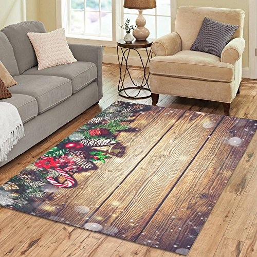 Gogogosky Home Decorate Floor Custom Rectangle Christmas Background With Fir Tree And Decoration Area Rug Floor Rug Room Carpets 7'x5'