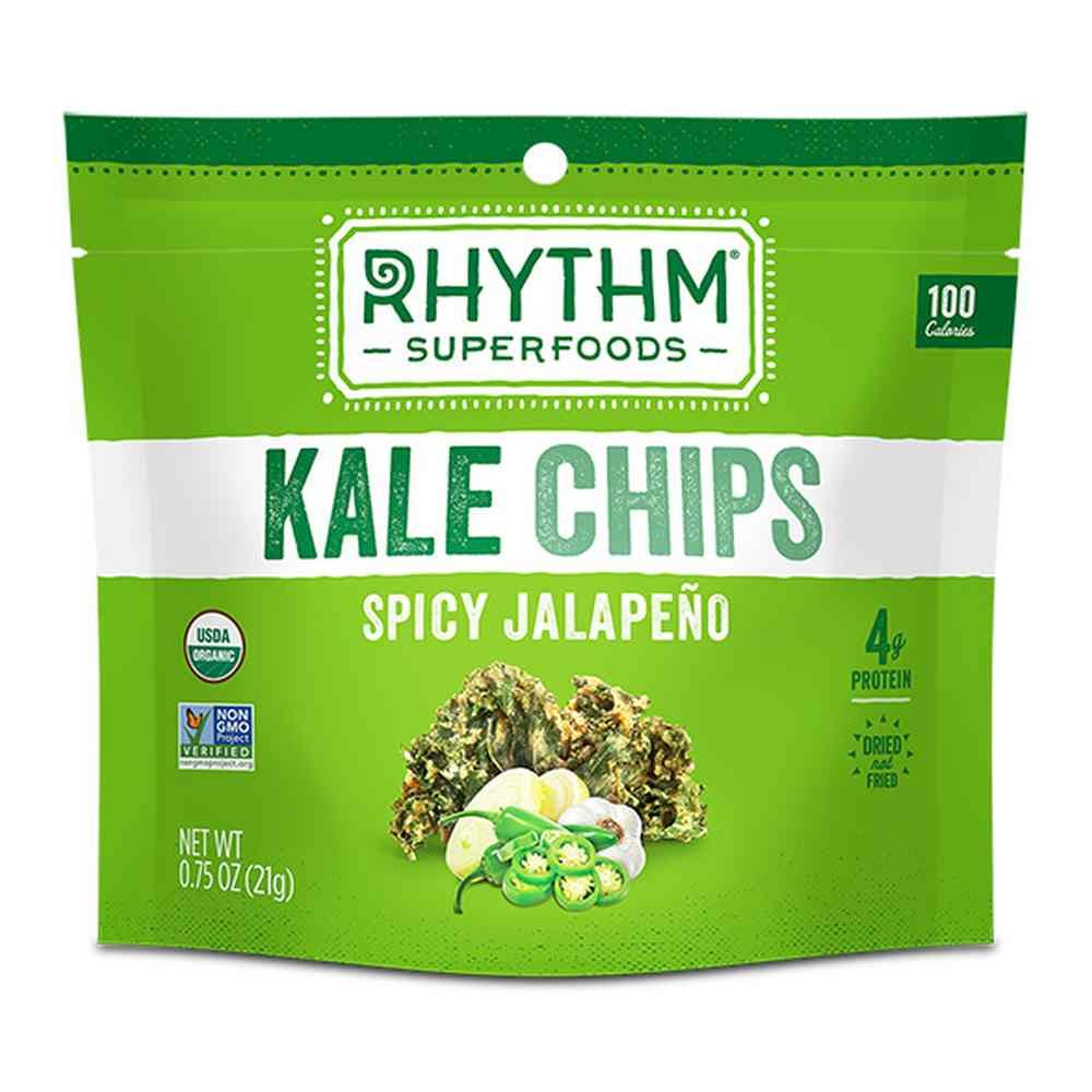 Rhythm Superfoods Organic Spicy Jalapeno Kale Chips, 0. 75 Ounce - 8 per case.
