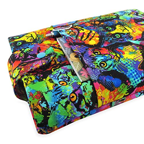 Handmade Cat Fabric Book Sleeve - Padded - Perfect For Hardbacks Or Large Paperbacks by Five Sprouts Stitching
