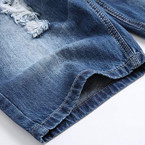 Pantalones Cortos De Verano para Estiramiento con Vaqueros Hombres Pantalones Ropa Agujeros Pantalones Cortos De Mezclilla Chern Longitud De Rodilla Straight Slim Fit Dril De Algodón Destruido Blau-1