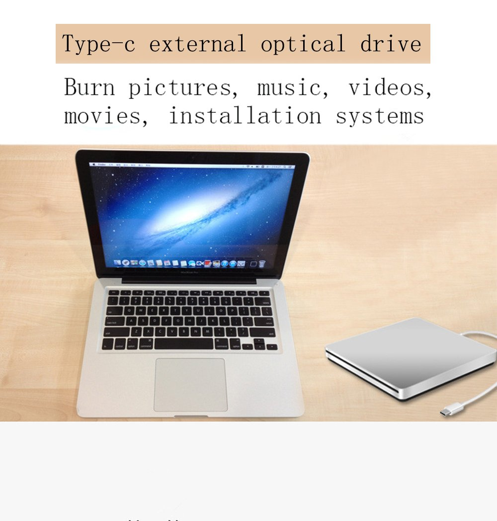 USB-C Superdrive External Drive Burner DVD CD VCD Reader +/- RW Rewriter/Writer/Player with High Speed Data for latest Mac/MacBook Pro/Laptop/Desktop Support Windows/Mac OSX (silver) by fhong (Image #7)