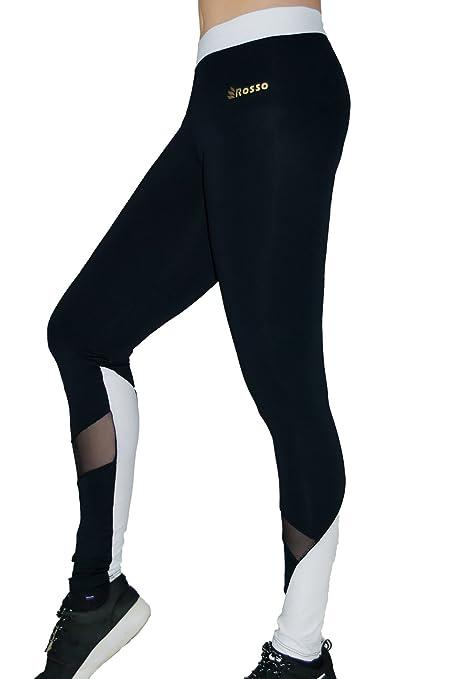 ROSSO Mallas largas para Mujeres BYW Blanco y Negro con Transparencias Leggins Cintura Ancha Color Blanca Pantalones opacos elásticos Deportivos Licra ...