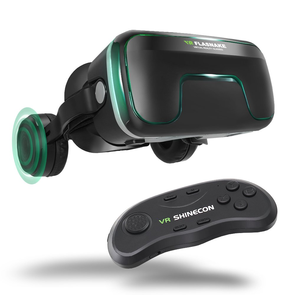 FLASNAKE 3D VR Headset Virtual Reality Glasses for 3D Movies & VR Games with Stereo Headphones, Adjustable Lenses & Head Straps - Compatible with 4.7''-6.0'' IOS/Android Smartphone