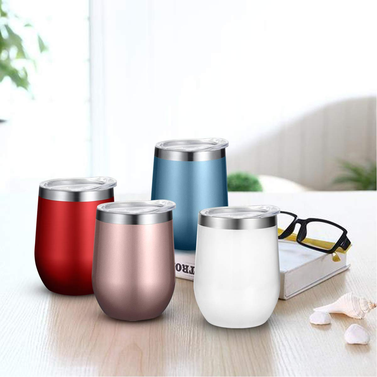 Fungun 6 pack 12 oz Stainless Steel Stemless Wine Glass Tumbler Double Wall Vacuum Insulated Wine Tumbler with Slip Lids Set of 6 for Coffee, Wine, Cocktails, Ice Cream Including 6 Straws(Rose Gold) by Fungun (Image #4)