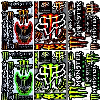 Kawasaki Motors - 6 Rockstar Energy Drink Metal Mulisha Yamaha Kawasaki Motocross Racing Helmet Motorcycle Decal Sticker