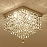 Moooni Crystal Chandelier Modern Flush Mount Ceiling Lights W12″
