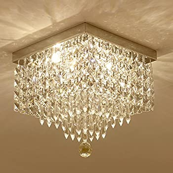 Moooni modern square crystal ceiling chandelier lighting for living moooni w12 contemporary crystal chandelier modern square ceiling lighting fixture aloadofball Images