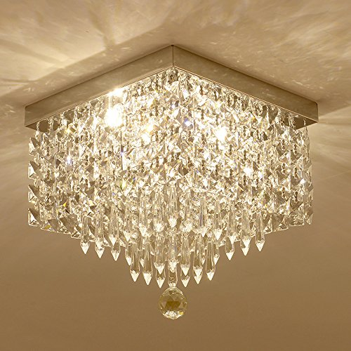Moooni Crystal Chandelier Modern Flush Mount Ceiling Lights W12