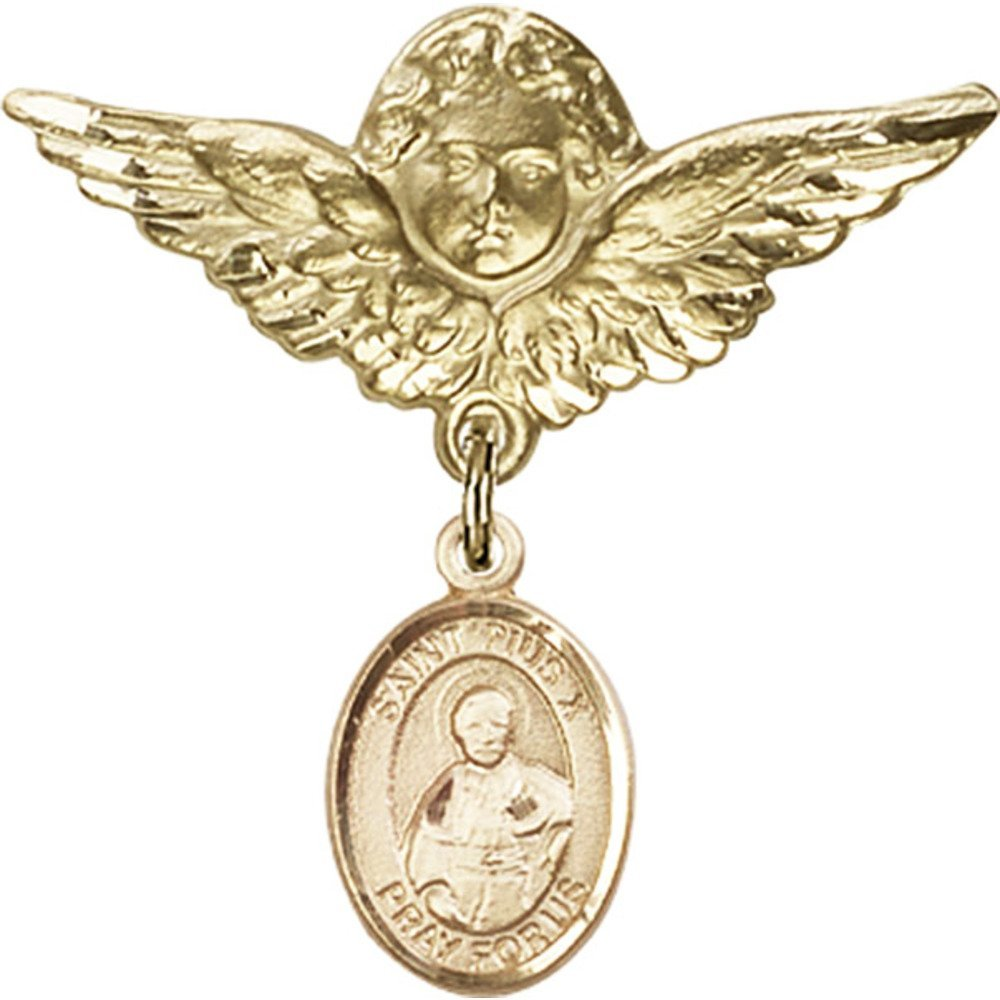 Gold Filled Baby Badge with St. Pius X Charm and Angel w/Wings Badge Pin 1 1/8 X 1 1/8 inches