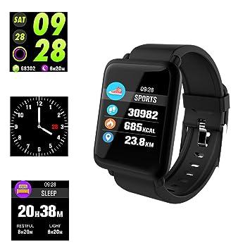 Anding Smartwatch con Pulsómetro,Impermeable IP67 Reloj Inteligente Rastreador de ejercicios con Presión Arterial , Monitor de Sueño,Podómetro,Pulsera ...