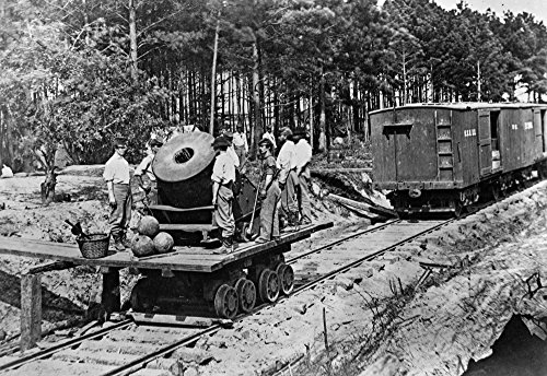 Civil War Mortar Nsoldiers (Probably Confederate) With A Mortar Cannon On A Small Railroad Car During The Civil War Photograph C1863 Poster Print by (24 x 36)