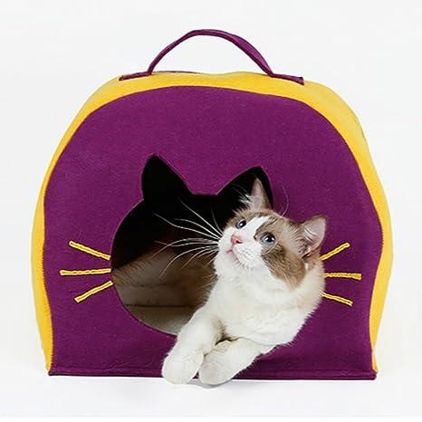 Hello Genki - Cueva de Fieltro para Gato con un Cojín, casa de Gato Secreta