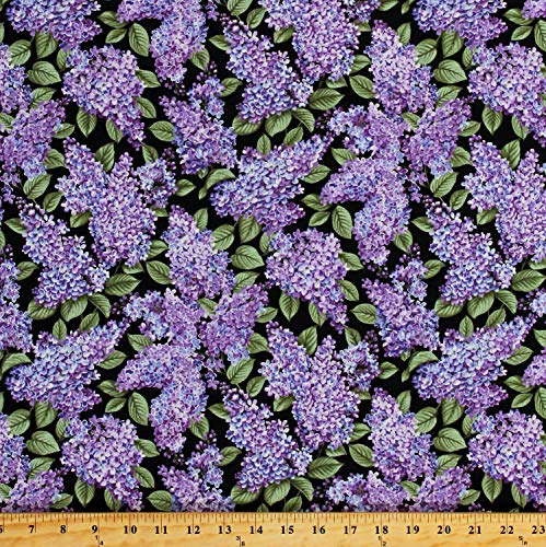 Cotton Lilacs in Bloom Floral Purple Flowers Garden Blossoms on Black Spring Cotton Fabric Print by The Yard ()