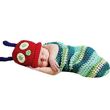 AKAAYUKO Bebé Recién Nacido Hecho A Mano Crochet Foto Fotografía Prop (Oruga)