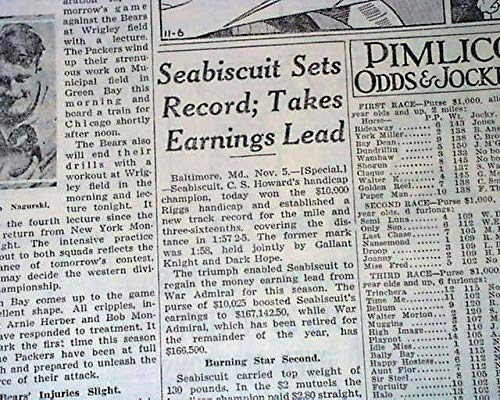 - SEABISCUIT Wins Riggs Handicap Pimlico HORSE RACING Victory 1937 Old Newspaper CHICAGO DAILY TRIBUNE, November 6, 1937