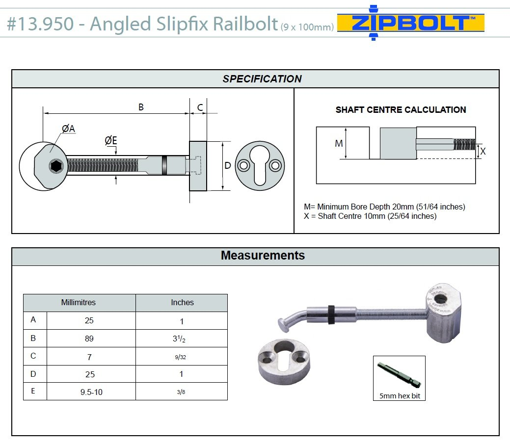 Zipbolt 13.950 Angled Slipfix Railbolt - Connects Angled Handrail to Newel Post - 10 Pack - Includes 5mm Hex Bit with Quick Release Shank