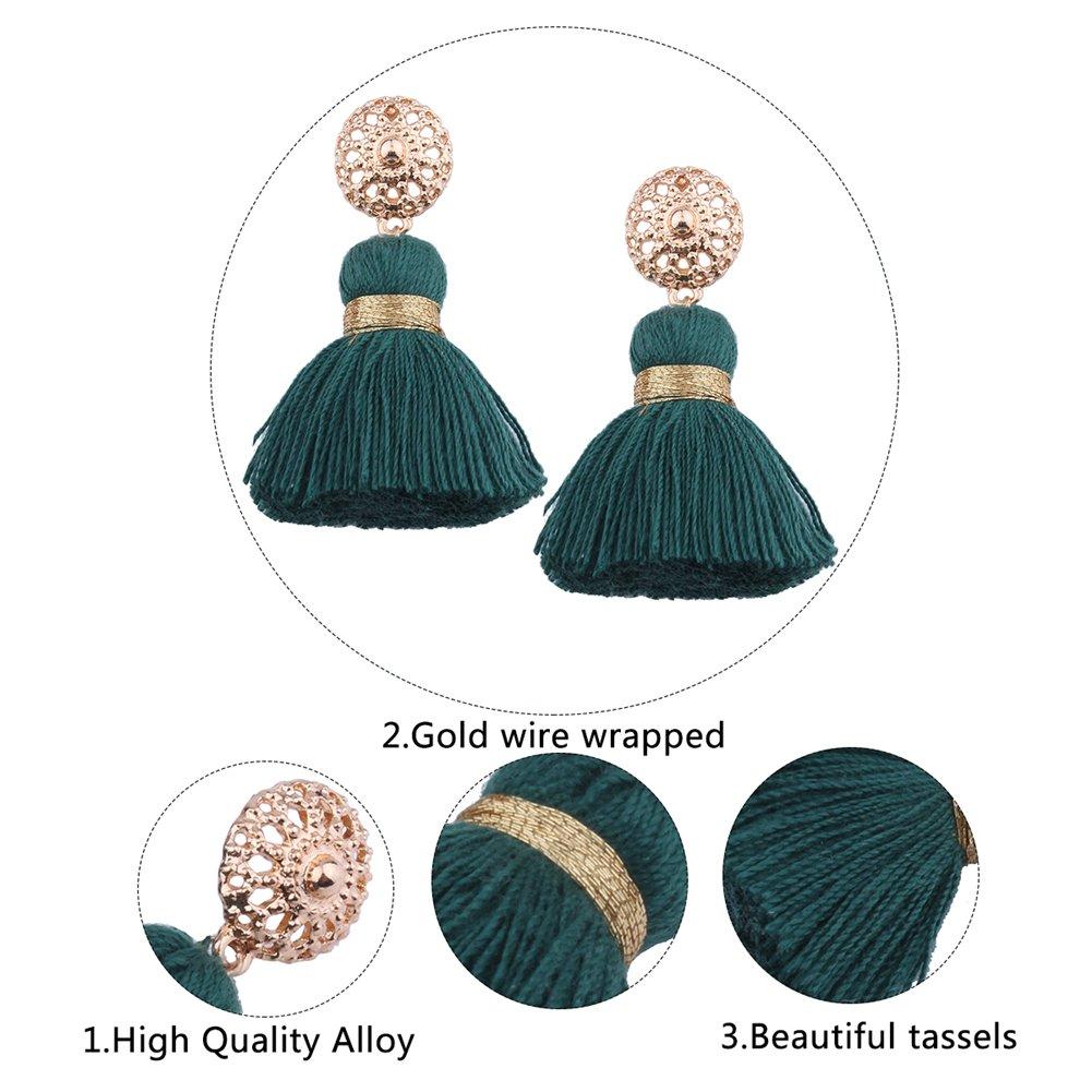Aibelly Bohemian Retro Ethnic Short Tassel Statement Chandelier Dangle Drop Earrings New Fashion Handmade Thread Stud Earrings for Woman Girls by Aibelly (Image #8)
