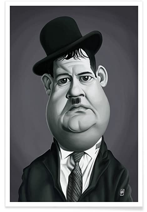 Juniqe posters 20x30cm actors actresses black white design oliver hardy format