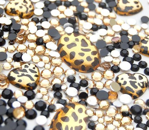 LOVEKITTY 10 animal print gems and 1000 pcs 3mm 5mm mixed Gold and Black Rhinestones Round Flatback 14-Facet (High Quality) by lovekitty Hello Kitty Gems