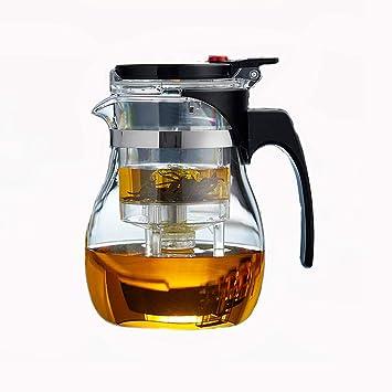 Whygry Tetera de vidrio con infusor, vidrio resistente al calor Tetera transparente grande con taza pequeña ...