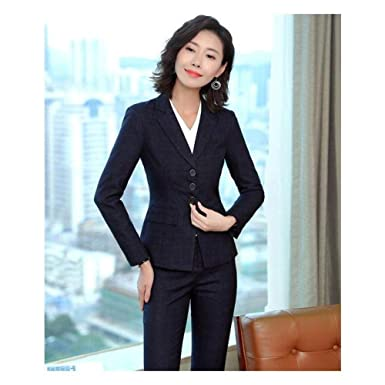 26148490daef3 Xuba Fashion Grid Uniform Designs Formal Pantsuits with Tops and ...