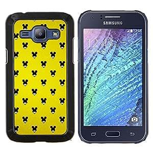 TECHCASE---Cubierta de la caja de protección para la piel dura ** Samsung Galaxy J1 J100 ** --Ratón Negro Grande Orejas Mujer Wallpaper Pin Up