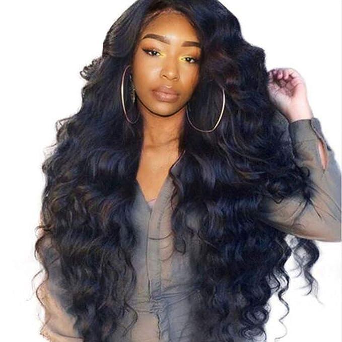 Honestyi Parrucche Donna Capelli Veri Fashion Elegante Parrucca Riccia Lunga  Resistente al Calore Fibre Sintetiche Wigs per Carnevale Cosplay (A 36d87fe99aca