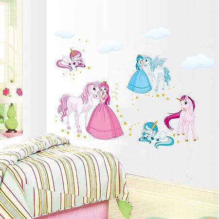 Salle de Jeux Chambre Enfant ufengke Princesse et Licorne Stickers Muraux Color/é Autocollants Muraux Amovibles en Vinyle DIY Mural Art Stickers pour Chambre B/éb/é