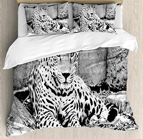 Ambesonne Black and White Duvet Cover Set King Size, Jaguar Wild Big Cats Theme Feline with Dots Body Fur Jungle Tiger Leopard, Decorative 3 Piece Bedding Set with 2 Pillow Shams, Black White